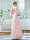 Cute Flattering V Neck Empire Waist Bridesmaid Dress With Ruffle Sleeves-Pink 2