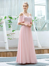 Cute Flattering V Neck Empire Waist Bridesmaid Dress With Ruffle Sleeves-Pink 3
