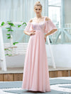 Cute Flattering V Neck Empire Waist Bridesmaid Dress With Ruffle Sleeves-Pink 4