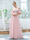 Cute Flattering V Neck Empire Waist Bridesmaid Dress With Ruffle Sleeves-Pink 1