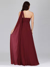 Cute One Shoulder A-Line Floor Length Bridesmaid Dress With Appliques-Burgundy 2