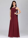 Cute One Shoulder A-Line Floor Length Bridesmaid Dress With Appliques-Burgundy 3