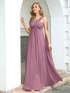 Cute One Shoulder A-Line Floor Length Bridesmaid Dress With Appliques-Purple Orchid 4