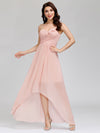 Elegant Floor Length One-Shoulder Chiffon Bridesmaid Dress For Women-Pink 8