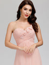 Elegant Floor Length One-Shoulder Chiffon Bridesmaid Dress For Women-Pink 10