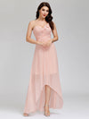 Elegant Floor Length One-Shoulder Chiffon Bridesmaid Dress For Women-Pink 6