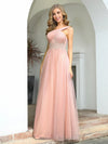 Cute One Shoulder Ruched Bust Bridesmaid Dresses With Appliques-Pink 1