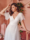 Elegant Simple Deep V Neck A-Line Lace & Tulle Wedding Dress-White 8