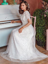 Elegant Simple Deep V Neck A-Line Lace & Tulle Wedding Dress-White 12