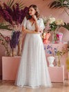 Elegant Simple Deep V Neck A-Line Lace & Tulle Wedding Dress-White 1