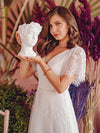 Elegant Simple Deep V Neck A-Line Lace & Tulle Wedding Dress-White 3