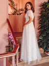 Elegant Simple Deep V Neck A-Line Lace & Tulle Wedding Dress-White 4