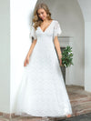 Elegant Simple Deep V Neck A-Line Lace & Tulle Wedding Dress-White 16