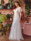 Elegant Simple Deep V Neck A-Line Lace & Tulle Wedding Dress-White 6