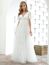 Elegant Simple Deep V Neck A-Line Lace & Tulle Wedding Dress-White 13