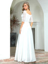 Elegant Floor Length A-Line Wedding Dress For Women With Lace-White 2