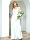 Elegant Floor Length A-Line Wedding Dress For Women With Lace-White 3