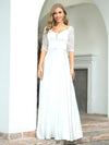 Elegant Floor Length A-Line Wedding Dress For Women With Lace-White 4