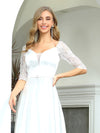 Elegant Floor Length A-Line Wedding Dress For Women With Lace-White 5