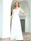 Elegant Floor Length A-Line Wedding Dress For Women With Lace-White 1