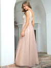 Sexy Deep V-Neck Tulle Evening Dress With Floor-Length And A-Line Silhouette-Blush 2
