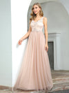 Sexy Deep V-Neck Tulle Evening Dress With Floor-Length And A-Line Silhouette-Blush 3