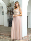 Sexy Deep V-Neck Tulle Evening Dress With Floor-Length And A-Line Silhouette-Blush 4