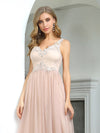 Sexy Deep V-Neck Tulle Evening Dress With Floor-Length And A-Line Silhouette-Blush 5