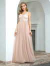 Sexy Deep V-Neck Tulle Evening Dress With Floor-Length And A-Line Silhouette-Blush 1