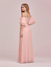 Sweet Off Shoulders Chiffon Bridesmaid Dresses With Lace Decoration-Pink 2