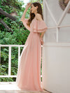 Sweet Off Shoulders Chiffon Bridesmaid Dresses With Lace Decoration-Pink 5