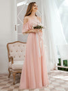 Sweet Off Shoulders Chiffon Bridesmaid Dresses With Lace Decoration-Pink 4