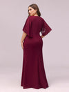 Elegant Floor Length Deep V-Neck Mermaid Evening Dresses-Burgundy 2