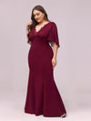Elegant Floor Length Deep V-Neck Mermaid Evening Dresses-Burgundy 3