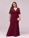 Elegant Floor Length Deep V-Neck Mermaid Evening Dresses-Burgundy 4