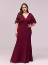 Elegant Floor Length Deep V-Neck Mermaid Evening Dresses-Burgundy 1