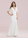 Elegant Floor Length Deep V-Neck Mermaid Evening Dresses-Cream 2