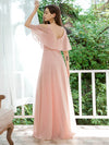 Dainty Short Ruffles Sleeves V-Neck Chiffon Evening Dresses-Pink 2