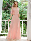 Dainty Short Ruffles Sleeves V-Neck Chiffon Evening Dresses-Pink 3