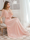 Dainty Short Ruffles Sleeves V-Neck Chiffon Evening Dresses-Pink 4