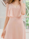 Dainty Short Ruffles Sleeves V-Neck Chiffon Evening Dresses-Pink 5