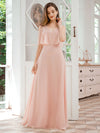 Dainty Short Ruffles Sleeves V-Neck Chiffon Evening Dresses-Pink 1