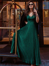 Charming Deep V-Neck Floor Length Evening Dress With Pleated Decoration-Dark Green 1
