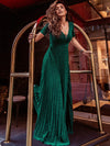 Charming Deep V-Neck Floor Length Evening Dress With Pleated Decoration-Dark Green 2