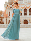 Pretty Floor Length Bridesmaid Dress With Spaghetti Straps-Dusty Blue 1
