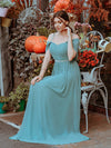 Pretty Floor Length Bridesmaid Dress With Spaghetti Straps-Dusty Blue 3