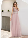 Women'S Sweet Double V Neck Embroidered Tulle Bridesmaid Dress-Pink 3