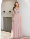 Women'S Sweet Double V Neck Embroidered Tulle Bridesmaid Dress-Pink 4