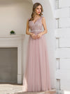 Women'S Sweet Double V Neck Embroidered Tulle Bridesmaid Dress-Pink 1