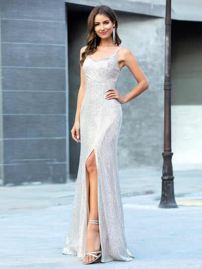 Shiny Spaghetti Straps High Split Sequin Evening Dress